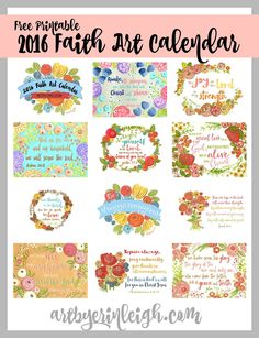 Free Printable 2016 Free Faith Art Calendar {newsletter subscription required]