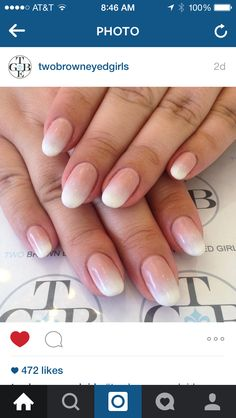 Nail art: modern French tip inspired ombré fade manicure in nude and white