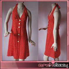 25% off Vintage 70s Cute Red Polka Dot Halter Neck Button Front Dress  #vintagedress #retro  http://www.ebay.co.uk/itm/Vintage-1970s-Cute-Red-Polka-Dot-Halter-Neck-Button-Front-Summer-Sun-Dress-UK10-/282048150036