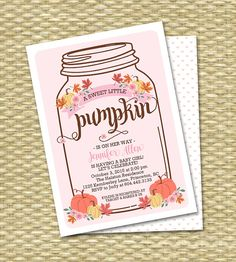 Is a cute little pumpkin on her way? This rustic mason jar typography style invitation combines premium commercial fonts with fall leaves, pretty pink flowers and pumpkin graphics to create a rustic, shabby chic, simply beautiful way to set the tone for your fall event! Customize your colour scheme. Lovely for a rustic autumn baby shower, sip and see, diaper and wipes party or baby sprinkle. Wording can be customized however you like, for any event. Printable or printing available - add-on…