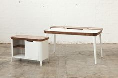 I like the contrast between the white polished* faces/legs, and the wooden top. Gorgeous 60's inspired rounded edges and shapes