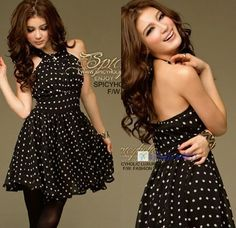 Fashion Self-tie Halter Chiffon White Polka Dots Sleeveless Womens Sexy Dress KJ US $13.11