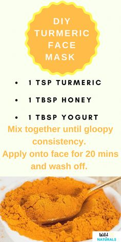 DIY Turmeric Face Mask for Glowing Skin Turmeric has taken over the natural beauty world and is sprinkling its golden goodness everywhere. Find out how to make a simple turmeric mask for glowing skin! Homemade Acne Mask, Homemade Skin Care, Homemade Facials, Homemade Beauty, Diy Turmeric Face Mask, Tumeric Face, Turmeric For Skin, Pele Natural, Diy Masque