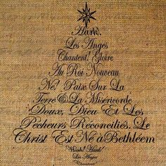 Hark The Herald Angels Sing French Text Christmas Tree Digital Image Download Transfer To Pillows Tote Tea Towels Burlap No. 1333