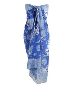 Take a look at the Royal Blue Abstract Tie-Front Strapless Cover-Up - Women on #zulily today!