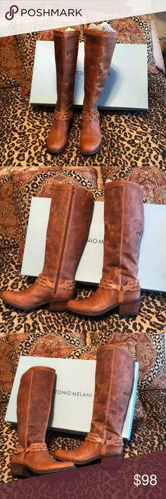 """Thanksgiving Special!  Fab Antonio Melani Boots These boots are absolutely gorgeous and more worn one time, as you can tell from photos.  Boots appear to be weathered and have tiny scratches here and there, and they came like that.  The boots are gorgeous and are in pristine condition!!!!!!  Approximately 2-1/4"""" heel.  Size stickers are still on the bottom of the boots! ANTONIO MELANI Shoes Winter & Rain Boots"""