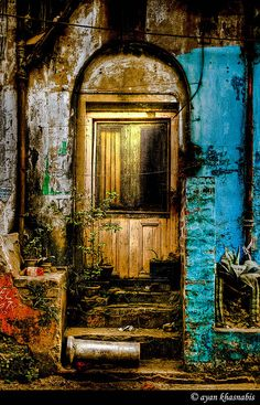 ♂ Aged with beauty - Rusty colorful wall with old wooden door