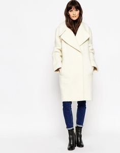 Image 1 of ASOS Coat in Oversized Fit with Turn Back Cuff Casual Chic 94adfd753ab