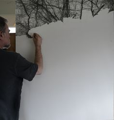 "Drawing in progress , Graphite on Arches water color paper mounted on maple    40"" x 50"""