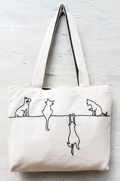 Alley cats tote / shoulder bag / minimalist line drawing / embroidery modern / reusable bags handmade on Etsy, $34.00q