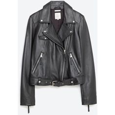 Zara Basic Leather Jacket ($189) ❤ liked on Polyvore featuring outerwear, jackets, abrigos, leather, zara, black, lined jacket, real leather jacket, leather jacket and lined leather jacket