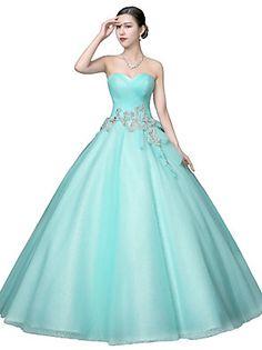 Kolacja oficjalna Sukienka Balowa Bez ramiączek Sięgająca podłoża Tiul z Dodatki…