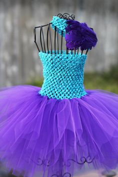 Turquoise & Purple Tutu Dress with Matching Nagorie by lmelissari