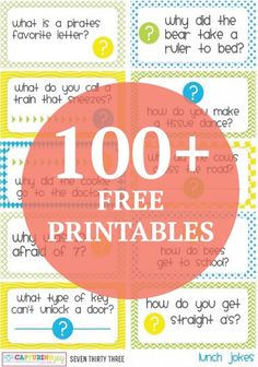 Customize your kids lunch with these fun and clever free printable jokes and brain teasers.