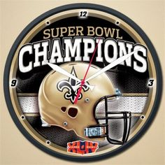 New Orleans Saints Super Bowl 44 Champions Round Wall Clock