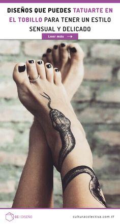 El tobillo es una zona ideal para tu primer tatuaje, puedes lucirlo con cualquier outfit que uses y además puedes esconderlo de forma muy sencilla. Puedes elegir entre diseños pequeños y discretos, como los minimalistas, hasta las creaciones grandes y complejas, formadas de distintos colores y composiciones. #PinCCDiseño #Diseño #Tattoo #tatuajes #ideas