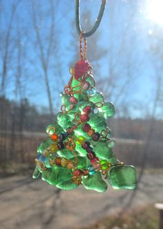 Eco Friendly Green Bottle Glass Christmas Tree Ornament Suncatcher Pendant Repurposed Recycled Wire Wrap by LttleEvrydyCreations on Etsy