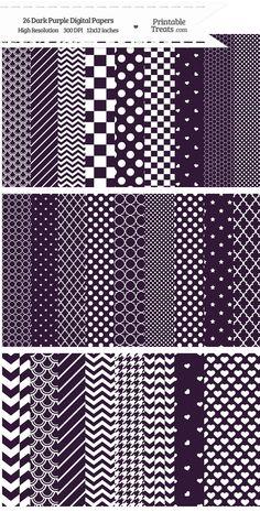 26 Dark Purple Digital Paper Set Download from PrintableTreats.com