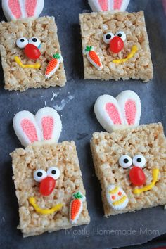Mostly Homemade Mom: Simple Square Rice Krispies Treat Bunnies