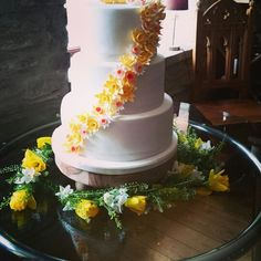 Stunning 3 tier cake with a spray of daffodils, set up at Jabajaks vineyard St Clears 3 Tier Cake, Tiered Cakes, St Clears, Daffodils, Vineyard, Wedding Cakes, Desserts, Food, Three Tier Cake
