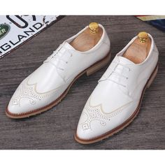 Men White Leather Lace Up Wedding Prom Dress Brogue Oxford Shoes SKU-1100144