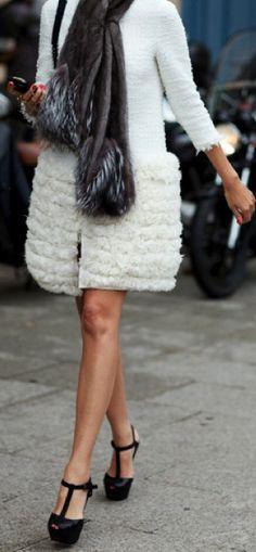 Street style fashion / karen cox. cute winter white coat
