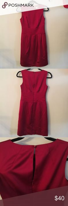 Gorgeous holiday red BR dress Wore this once to my husband's company Christmas dinner and never did again, just always kept it bc I thought I would.  This is such a gorgeous red.  Pictures don't do it justice.  Beautifully fitted along the waist.  Modest. Classic. Banana Republic Dresses
