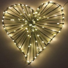 String Art Heart made with my new String Wire Fairy Lights.  This is 18 feet long with 100 lights.  The wire is amazing.  It behaves like string and not like wire.
