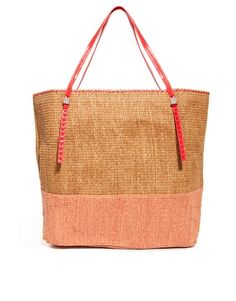 Mango Touch Woven Straw Colourblock Shopper