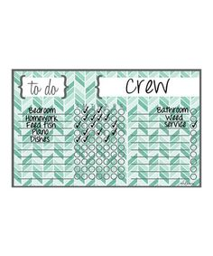 Look what I found on #zulily! Teal Herringbone Dry-Erase Magnetic Chore Chart #zulilyfinds