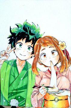 Buko No Hero Academia, My Hero Academia Manga, Anime Couples Manga, Manga Anime, Kawaii Anime, Boku No Hero Uraraka, Deku X Uraraka, Anime Lindo, Happy Tree Friends