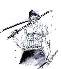 Roronoa Zoro, One Piece One Piece Manga, One Piece Drawing, Zoro One Piece, Roronoa Zoro, One Piece Tattoos, Pieces Tattoo, One Piece Zorro, Panzer Tattoo, Zorro Tattoo