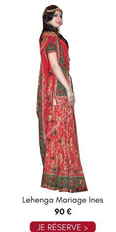 1a1a033c2d98e Location Lehenga Mariage Ines Rouge Vert Ajustable Pas Cher 90€ Narkis  Fashion