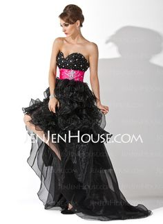 Prom Dresses - $148.99 - A-Line/Princess Sweetheart Asymmetrical Organza Satin Prom Dress With Ruffle Sash Beading (018021095) http://jenjenhouse.com/A-Line-Princess-Sweetheart-Asymmetrical-Organza-Satin-Prom-Dress-With-Ruffle-Sash-Beading-018021095-g21095