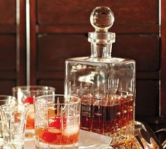 Library Decanter and old fashioned $12 per glass   Pottery Barn