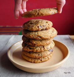 Vege Kika: Chocolate chip cookies z masłem orzechowym Chocolate Chip Cookies, Sweet Recipes, Chips, Food And Drink, Potato Chip, Potato Chips, Chocolate Chip Brownies, Chocolate Cookies