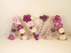 Flower name letters - Floral name letters - Ava - Personalized name letters - Custom name letter - Floral nursey - Decor - Photo prop by PreciousGiftsbyDiane on Etsy