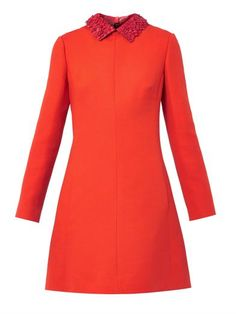 Leather-collar crepe dress | Valentino | MATCHESFASHION.COM