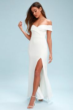 f73f02f2263914 Song of Love White Off-the-Shoulder Maxi Dress White Dresses For Women
