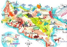 Map of Zakynthos Island, Greece. Illustration by Isabelle Dinter. Illustrator, Zakynthos Greece, World Map Wallpaper, Drawing Conclusions, Practical Gifts, Central Europe, Unusual Gifts, Cartography, Greece Travel