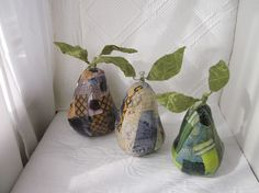 Decoupaged papier mache pears on Etsy, by InsituDecorativeArts