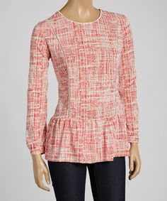 Another great find on #zulily! Red Lattice Ruffle Top by Blue Plate #zulilyfinds