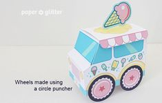 Ice Cream Party Favor Box Truck Paper Craft Toy Pastel- Editable Text Printable PDF