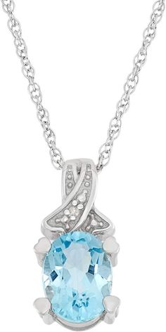 1198336ec Sky Blue Topaz & Diamond Accent Sterling Silver Pendant Necklace