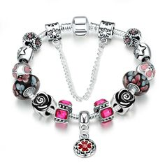 6994951665f3 Rose Arey DIY Bead Charm Bracelet Fashion Silver Plated Beaded Bracelets  Europe and America Crystal Bead Chain Jewelry
