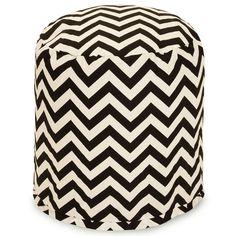 Black and White Zigzag Chevron Small Pouf Bean Bag Chair Ottoman