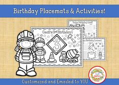 Personalized Birthday Placemat, Construction Worker Birthday Party Printable, Kid's Custom Coloring Activity Sheet, Birthday Printable, Name Tracing Worksheets, Worksheets For Kids, Counting Activities, Color Activities, Kids Table Wedding, Learning Resources, Teaching Ideas, Birthday Coloring Pages, Learn To Spell