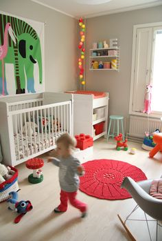 Scandinavian inspired baby/kids' rooms... I LOVE the wall colour