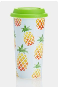 Pinapple coffee tumbler, travel mug - so bright and cheerful! Coffee Tumbler, Coffee Cups, Pineapple Room, Pineapple Tumbler, Pineapple Girl, Parfait, Pineapple Express, Cute Cups, My New Room