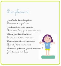 Comptines – Simplement (poésie) – momes.net Single Parenting, Kids And Parenting, Parenting Hacks, Single Mom Help, Single Dads, Positive Mind, Positive Attitude, Songs To Sing, Raising Kids